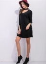 New Women  Mini Dress Choker Sleeves Slit Cuff Loose A-line Dress Black/Grey
