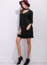 Новые женские мини-платья Choker Sleeves Slit Cuff Loose A-line Платье Черное / Серый
