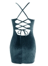 Velvet Bodycon Dress Spaghetti Strap Lace Up  V-Neck Club Party Dress