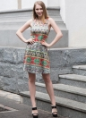 Vintage Women Sleeveless Bohemian Geometric Print O-Neck robe décontractée