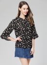 Sexy  Flower Print Shirt Tie Bow Front Flare Sleeve Loose Women's Blouse