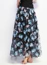 Boho Floral Maxi cintura alta falda floral de gasa