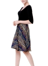 Новый Vintage Women Print Scoop 3/4 Sleeves Splicing Design A-Lined Dress