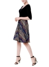 New Vintage Women Print Scoop 3/4 Sleeves Splicing Design A-Lined Dress