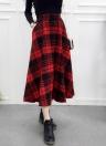 Women Plaid Skirt Woolen High Elastic Waist Elegant A-Line Midi Skirts