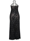 Bodycon Maxi Dress Halter Floral Mesh Backless Cutout Sleeveless Party Dress