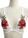Reizvoller Spitze-Blumenapplique-justierbarer Bügel-elastischer drahtloser Frauen Büstenhalter