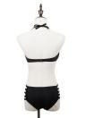 Donne Sexy Bikini Set Halter Push-Up chiusura lampo anteriore Clip Cut-Back out alta cintura costume da bagno nero