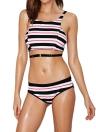 Sexy Contrast Stripe Crop Top Elastic Waist Bottom Bikini Set