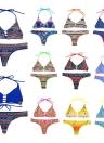 Novas mulheres Sexy biquini Halter impressão sem fios acolchoado dois pedaço terno praia Swimwear maiôs