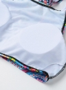Sexy Frauen Kreis Geometric Print Triangel-Bikini-gesetzte Badeanzug Gepolsterte Badeanzug Zweiteiler Bademode Blau