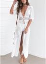 Femmes sexy en mousseline de soie Crochet Maxi Beach Cover Up