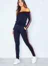 Womens Tracksuit Striped Print Off Shoulder Long Sleeve 2 Piece Set Sportswear