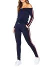Women Tracksuit Striped Print Off Shoulder Long Sleeve 2 Piece Set Sportswear