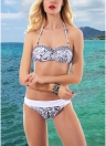 Sexy Frauen Halter Draht Frei Gepolsterte Cup Niedrigen Taille Tanga Biquini Print Bikini Set
