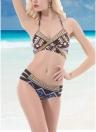 Sexy Frauen Push Up Printed Verband Halter Beach Bikini Anzug Baden