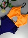 Damen Einteiler Bikini Farbe Splice Monokini Badeanzüge