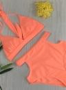 Sexy Frauen Hohe Taille Neckholder Straps V-Neck Bikini Set