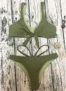 Damen Ripped V-Ausschnitt mit V-Ausschnitt Knotted Padded Low Waist Bikini Set