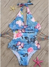 Women One Piece Swimsuit Deep V Halter Floral Letters Butterfly Print Bandage Cut Out Backless Sexy Monokini