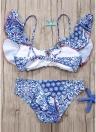 Women Bikini Set Ruffles Vintage Print Cut Out Bottom Low Waist Padded Two Piece Swimsuit Swimwear