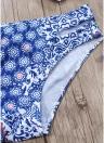 Mulheres Conjunto de biquíni Ruffles Vintage Print Cut Out Bottom Baixa cintura acolchoada Two Piece Swimsuit Swimwear