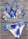 Sexy Women Brazilian Bikini Set Swimsuit Printed Swimwear Cut Out Bandagem acolchoado Beach Wear Bathing Suit