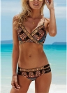 Sexy Women Exotic Print Bikini Set Cross Front Bandage Swimsuit