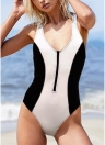Sexy Women Black White Monokini Solid Hatler Front Zip Backless Swimsuit