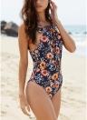 Frauen-Badeanzug-Blumendruck Selbst-binden vordere Kreuzgurte Backless aufgefüllt