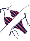 Halter Push Up Striped Tie Cintura acolchoada Conjunto de biquíni feminino