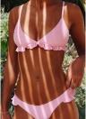 Einfarbig gepolsterte Push Up Rüschen Sexy Bikini Set