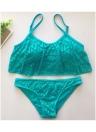 Women Ruffled Bikini Set Hollow Out Adjustable Strap Padding Low Waist