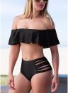 Femmes Bikini Set Off les volants de l'épaule évider Side Cross StrapsSexy