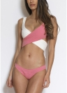 Contraste Color Patchwork Wrap Front Tired Bikini Set