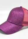Girls Cap Sequined Fishnet Splice Baseball Sport Casual Hip-Pop Streetwear Flat Hat