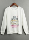 T-shirt Casual New Mulheres Impresso O-Long Neck Sleeve Pullover solto Top camisola Hoodies