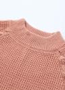 Turtleneck Lace Up Side Split Long Sleeve Casual Sweater