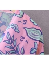Couverture Bikini Fashion Femmes Long Kimono Cardigan en mousseline de soie Blouse Bohemian imprimé floral en vrac rose