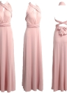 Solid Stretchy Convertible Multi Way Cross Strap Bridesmaid Maxi Dress