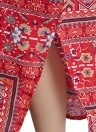 Las mujeres imprimen el vestido maxi flojo del lado del bolsillo del vestido largo holgado de la raja del bolsillo