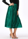 Brief Pleated Solid Color High Waist Elasticated Skirt