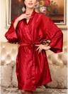Women Silk Satin Night Robe Bathrobe Short Kimono Dressing Gown