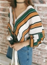 Fashion  Loose Contrast Color Striped V Neck Batwing Sleeve Women's Blouse