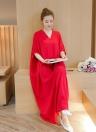 Plus Size Boho V Neck Batwing Vestido maxi das mulheres sem mangas