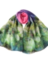 Nouveau Femmes Foulard en mousseline de soie contraste imprimé floral double couche de perles longues Châle Écharpe élégante Plage Cover
