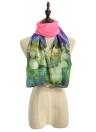 Sciarpa chiffon nuova delle donne contrasto con stampa floreale a doppio strato di perle lunga dello scialle elegante della sciarpa di occultamento della spiaggia