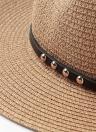 Summer Unisex Wide Brim Metal Belt Straw Panama Hat