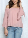 Mulheres Off The Shoulder Flare Sleeve Blusa Solid Loose Top