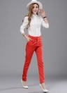 Nova moda mulheres sólido calças calças soltas de imprensa Stud encerramento Slant bolso Lady Causal vermelho/preto